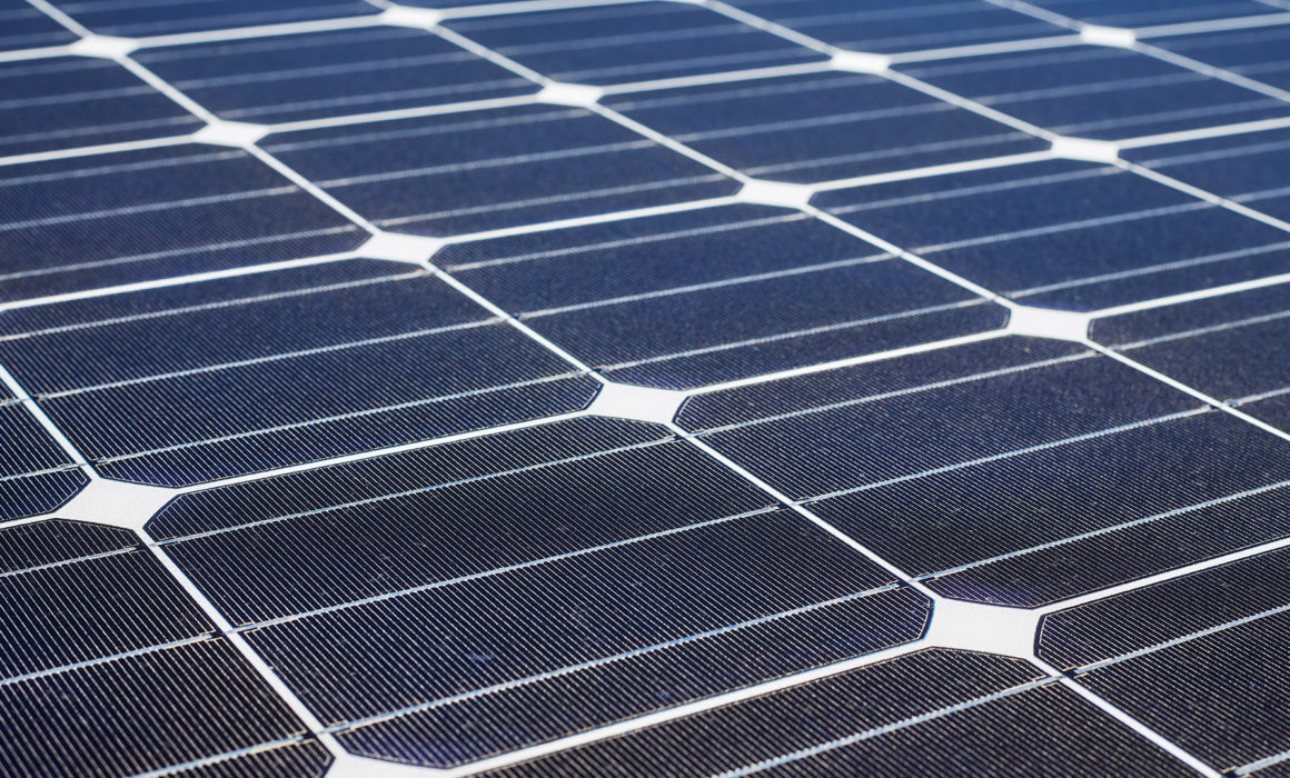 a detail of a solar panel seen close up